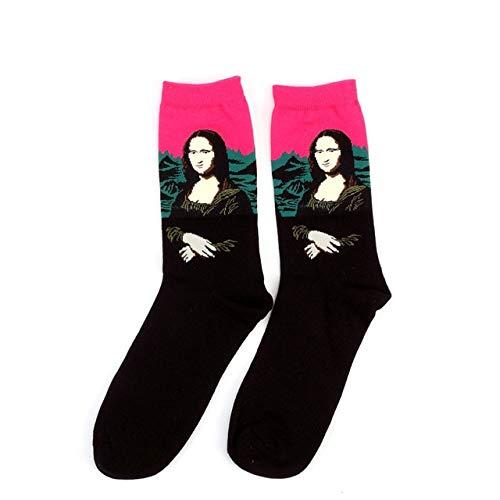 Noche Estrellada Invierno Retro Mujeres Personalidad Pintura Hombres Calcetines Aceite Divertidos Calcetines Felices-Socks 16