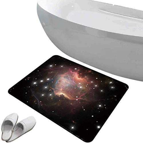 Non-Slip Bathroom Rug Constellation Soft Skidproof Bath Mat Safe Area Deep Down in Outer Space Complex Supernova Phenomenal Dynamic Universe Image,Multicolor Doormat Bedroom Living Room Kitchen Decora