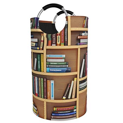 N\A 82l Large Laundry Basket, Beautiful Picture Bookshelf Collapsible Fabric Laundry Hamper, Foldable Clothes Bag, Folding Washing Bin Storage Basket