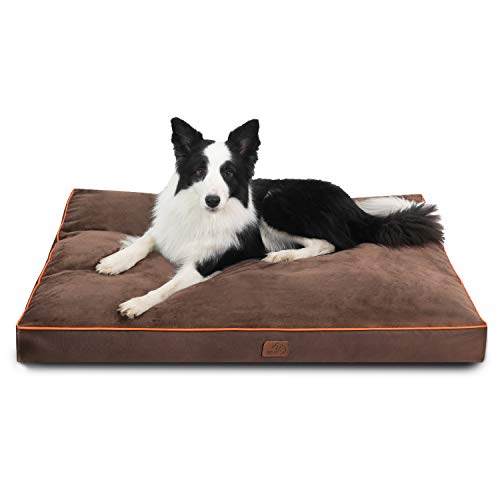 Bedsure Waterproof Dog Bed for XLarge Dogs with Removable Washable Cover and Waterproof Liner Up to 100lbs - Plush 3 inch Thick Fleece Top with Nonskid Bottom Pet Mat, Ideal for Crate or Kennel, Grey