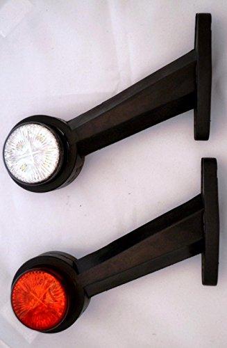 Set di 2 luci di posizione laterali, 24 V, colore: bianco/rosso, per telaio di rimorchio, caravan, camper, camion