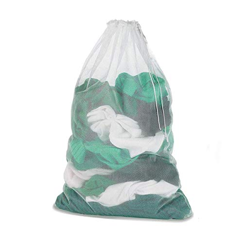 Meowoo Bolsa de Malla con Cordón Bolso de Ropa Bolsa de Lavandería Blanco para Lavadora, Se USA para Lavar Ropa Interior, Calcetines, Camisas (White-1pc)