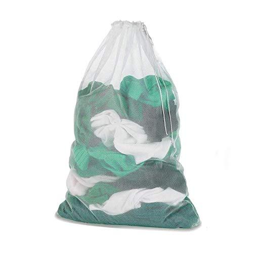 Meowoo Waschbeutel Wäschesack Groß für Waschmaschine Wäschenetz für BH,Dessous, Socken, Strumpfhosen, Strümpfe und Baby Kleidung 60 x 90 cm(1 pc-Weiß)