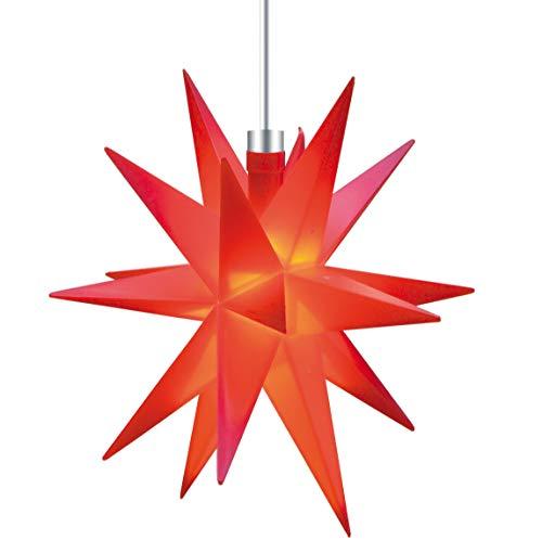 3D LED Stern Ø 12 cm Weihnachtsstern Batterie Ministern Innen Kunststoff Stern klein Leuchtstern Deko für innen Indoor von Dekowelt (Rot)