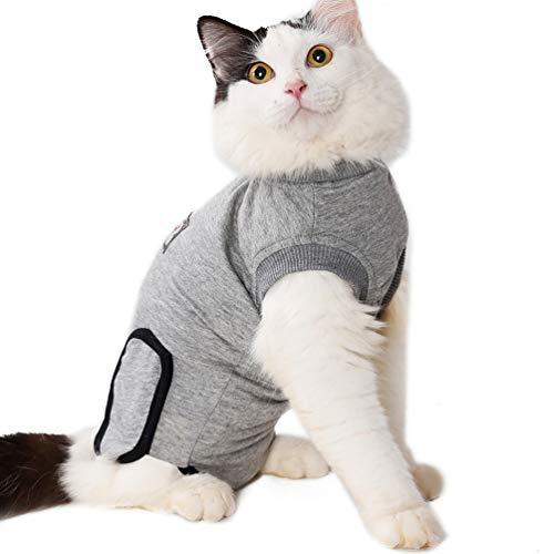 VILLCASE Katzen-Erholungsanzug für Bauchwunden Oder Hautkrankheiten Atmungsaktiver Katzen-Erholungsanzug für Katzen E-Collar-Alternative nach Der Operation Tragen Sie Anti-Leck-Wunden -