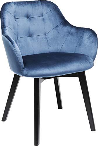 Kare Design Armlehnstuhl Black Lady Velvet Blau, 82x62x60cm