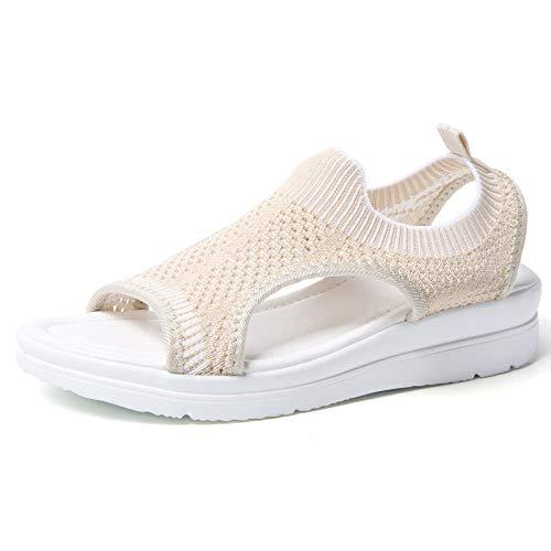 Royan, Sandalen voor Vrouwen, Casual Sport Sandalen, Geweven mesh Schoenen voor vliegen, Grote mesh Schoenen Beige_44