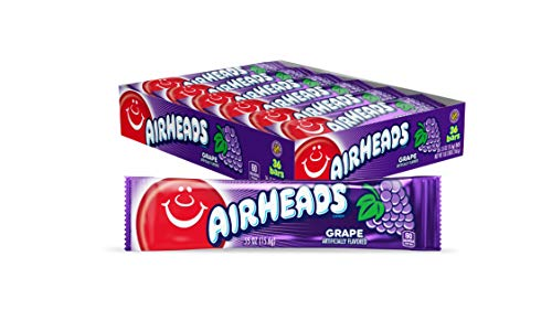 Airheads Candy, Individually Wrapped Full Size Bars for Halloween, Grape, Bulk Taffy, Non Melting, Party, 0.55 Ounce (Pack of 36)