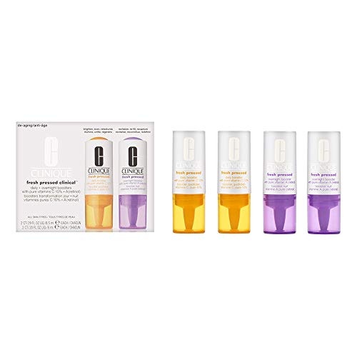 Moisturisers by Clinique Fresh Pressed Clinical Daily & Overnight Boosters with Pure Vitamin C 10% + A (Retinol) 2 x 8.5ml & 2 x 6ml