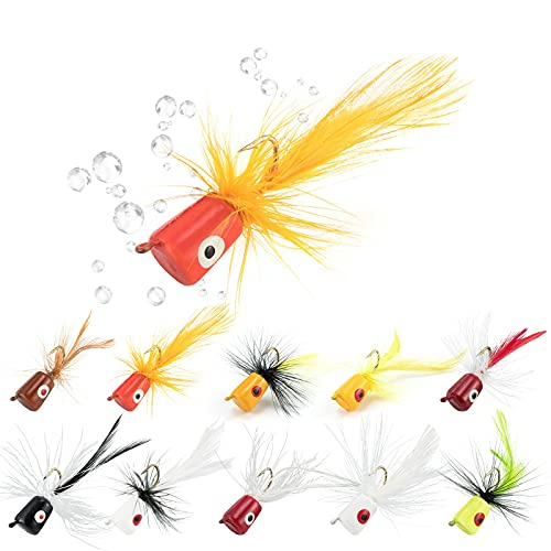 Alwonder 10PCS/Pack Fly Fishing Poppers, Topwater Fishing Lures Bass...