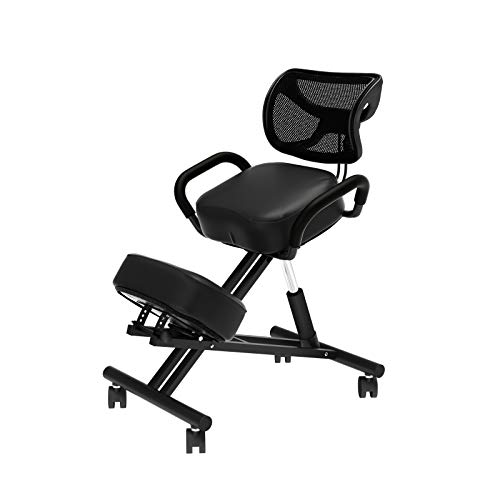 soges Ergonomic Kneeling Chair Height and Angle Adjustable Stool Knee Chair with Armrest,Thick Foam Cushions and Casters for Home Office Posture Corrective Black,YKTH-EKC-B