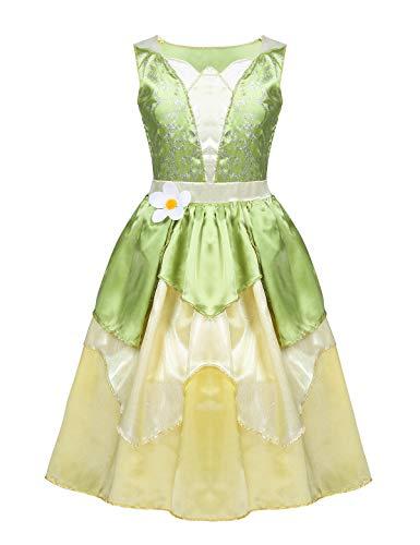 iixpin Vestido Disfraz Princesa para Niñas Vestido Satén Top sin Manga Estampado Floral Falda Volantes Brillante Vestido de Carnaval Hallowen Costume Cosplay
