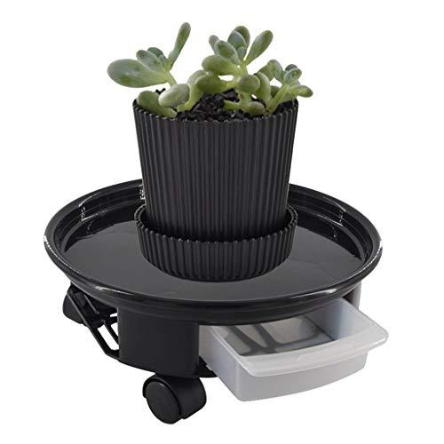 OLMME Zwarte plantentrolly met wiel bloempot roller tray ronde bloemen disc met waterreservoir, 3 maten