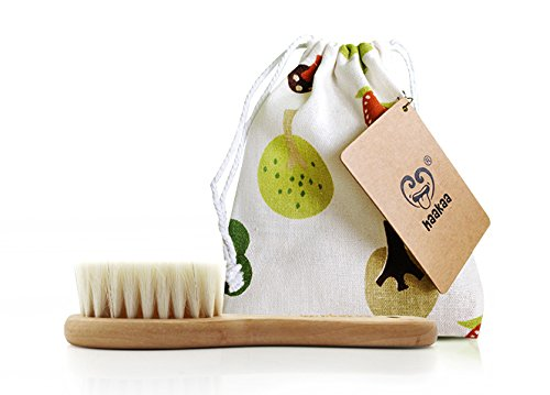 Haakaa Wooden Baby Hairbrush with Natural Goat Wool Bristles 1 pk