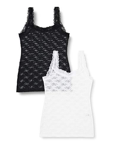 Iris & Lilly Mujer Camiseta sin mangas encaje, Pack de 2