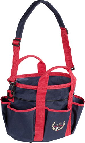 USG Putztasche klein mit Stickerei | Verstellbarer Schulter-Trageriemen und Handtrageriemen | zahlreiche Aufbewahrungsmöglichkeiten | wasserabweisend & abwaschbar (Marine/Rot)