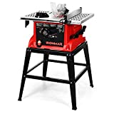Goplus Table Saw, 10-Inch 15-Amp Portable Table Saw, 36T Blade, Cutting Speed Up to 5000RPM, 45º Double-Bevel...