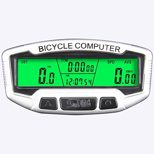 Frondent Velocímetro de bicicleta, cuentakilómetros con pantalla grande, luz nocturna verde LED...
