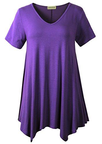 LARACE Women Casual T Shirt V-Neck Tunic Tops for Leggings(3X, Deep Purple)