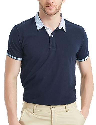 GAVIN BLEU Polo Shirts for Men Navifalcon Mens Collared Polo Shirts Polo V Neck...