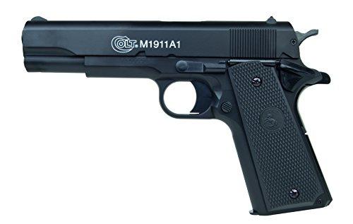 Softair Pistole Colt 1911 A1 im qualitativ hochwertigen Transportkoffer HPA-Serie mit Metallschlitten Kaliber 6 mm Federdruck < 0.5 Joule, 203978