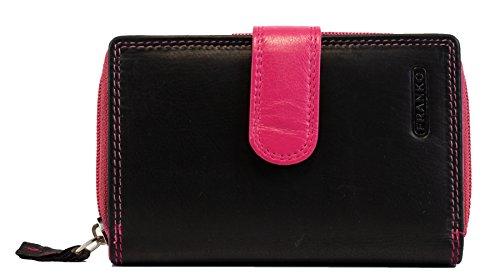 Pinke Damen Geldbörse aus Echt Leder mit 31 Kreditkartenfächer Lederbörse Frauen Portemonnaie Beidseitig bedienbar Geldtasche Brieftasche Franko 1650 (Pink Schwarz)