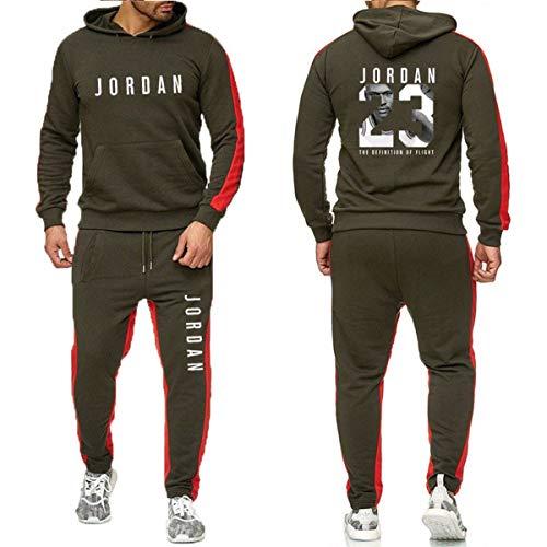 Herren 2 bessern Satz Jordan # 23 Anzug für Männer Herbst-Winter-T-Shirt + Kordelzug Hosen-Mann Hoodies Basketball Training Bekleidung,Grau,M