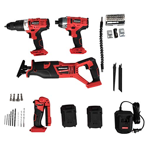 """Goplus 4-Tool Combo Kit, 18V Lithium-Ion 1/2"""" Cordless Drill Driver, 1/4"""" Impact Driver, Reciprocating Saw and LED Flashlight, Suitable for Wood, Tile, Steel and Brick Wall"""
