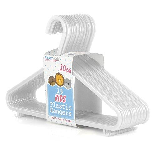 Hangerworld 72 Weiße Kunststoff Kinder-Kleiderbügel 30cm Platzsparend Hosensteg Schlaufenhaken