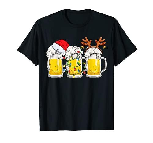 Cerveza Navidad taza Santa Reinbeer Navidad luces regalo hombres mujeres Camiseta