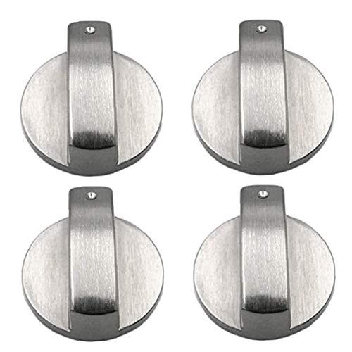 Kacniohen Estufa Interruptor perillas de Control del Quemador ollas de Metal Perilla de 6 mm de Plata Superficie de Control Cerraduras para Horno de Gas Estufas de Cocina Accesorios 4PCS