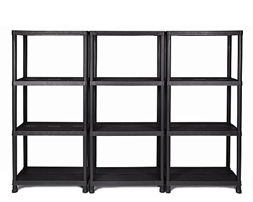 Ondis24 Regal, Lagerregal, 60 x 30 x 138 (H) cm, 12 Zoll Steckregal, Kunststoff, anthrazit, bis maximal 125 kg belastbar (3 Stück)