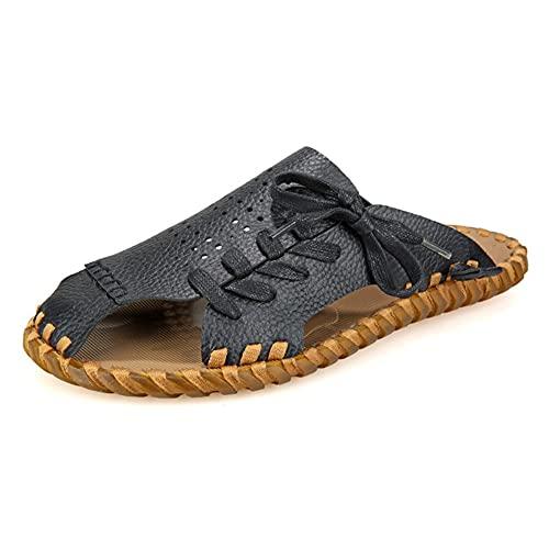 NMJKH Moda Verano Hombres Zapatillas De Deporte PU Luz Hombres Sandalias Al Aire Libre Antideslizante Hombres Chanclas Zapatos De Hombre (Color : Black, Size : 42yards)