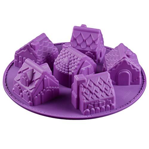 Yumira Weihnachtsdorf Kuchenform Lebkuchenhaus Backform Muffinform Silikonform für Schokolade, Cupcakes, Pudding, Keks, Kuchendekoration, Weihnachtsdekoration