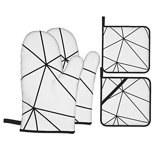 Vilico 2 Stück Ofenhandschuhe und 2 Stück Topflappen Ofen Zara Mono geometrisch weiß schwarz Küche rutschfeste Handschuhe und Hot Pads zum Kochen Backen hitzebeständig Handschutz