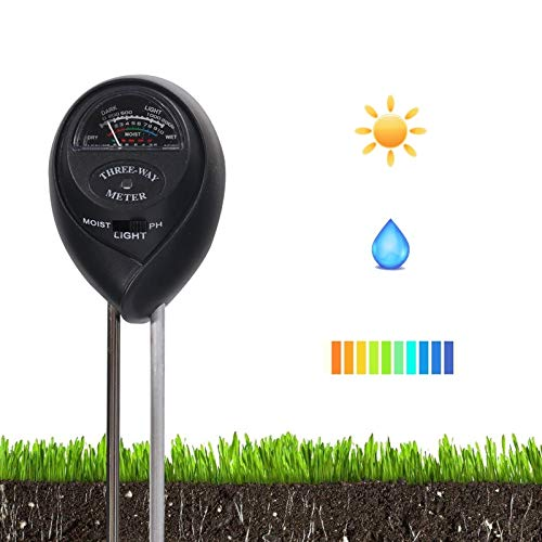 Upgraded Soil Tester, 3-in-1 Soil Test Kit with Moisture, Light and PH Test, Soil PH Meter for Home/Garden/Farm/Lawn/Indoor & Outdoor Use (No Battery Needed)