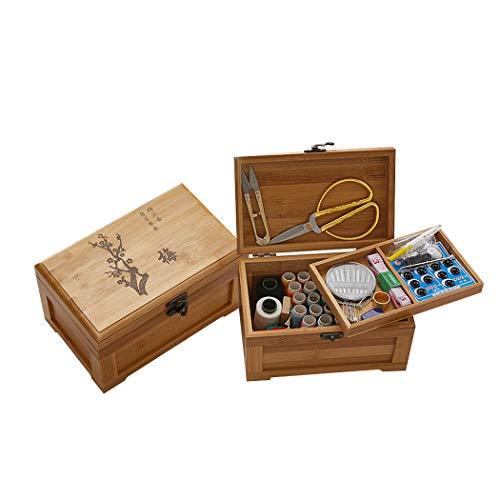 Holz sammlung Kit da Cucito, Portatile Kit Cucito Set da Cesto da Cucito in bambù con Kit di Accessori, Scatola Organizer Elegante per Principianti, Casa, Viaggio e Emergenza Uso