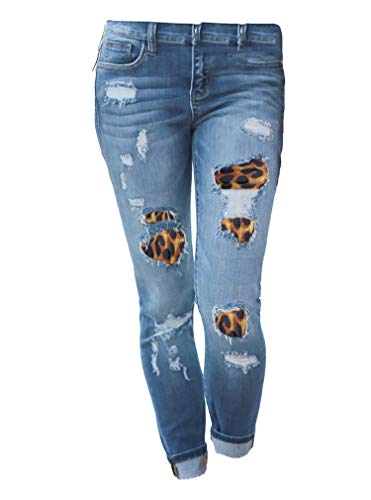 Cheapest Price! Andongnywell Plus Size Mid Waist Colombian Design Ripped Skinny Jeans (Blue,Small)