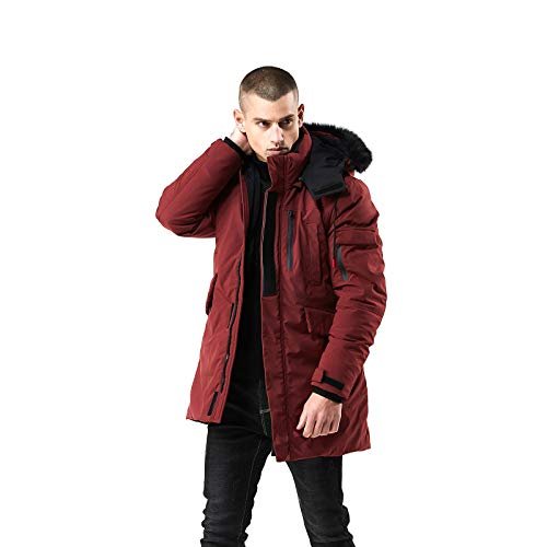WEEN CHARM Men's Warm Parka Jacket Anorak Jacket Winter Coat with Detachable Hood Faux-Fur Trim