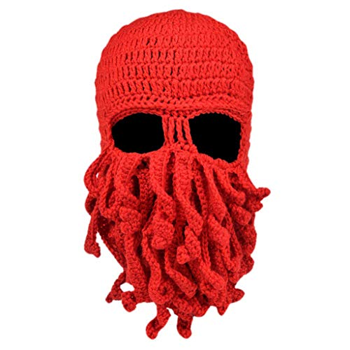 PHILSP Sombrero de Punto Hombres Mujeres Creativo Divertido Tentculo Pulpo Sombrero de Punto Barba Larga Gorro Pasamontaas Invierno Clido Disfraz de Halloween Mscara de Cosplay Rojo
