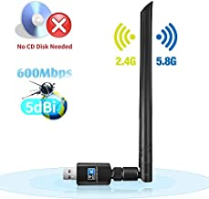 ANEWKODI WiFi Card, Dual Band 5G/2.4G Wireless USB WiFi Adapter Driver Free, 802.11AC Antenna Network LAN Card for Desktop, Support Windows 10/8.1/8/7/XP/Vista MAC OS X