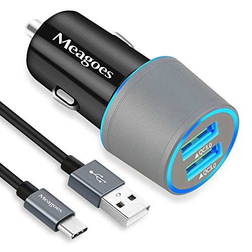 Meagoes USB C Car Charger, Dual Quick Charge 3.0 Port Fast Charging Adapter Compatible for Samsung Galaxy S20/Plus/Ultra/Note 10/9/8/A71/A70/A50/A51/A20, LG Stylo 6/5/4/Q70, Moto Z4/Z3/G Power/Stylus