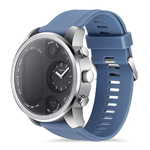 zyz Moda Smart Watch Men T3 Pro Dual Time Impermeable IP67 Monitoreo De Ritmo Cardíaco Bluetooth Activity Tracker Sports Pedometer Watch,Azul