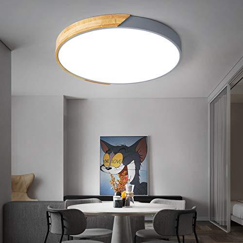 VISDANFO LED32W Holz Deckenleuchte, dimmbar, mit Fernbedienung, kann 150 W Glühlampe ersetzen, verwendet in Schlafzimmer, Büro, Küche, Wohnzimmer, Flur, 40 cm Durchmesser runde Deckenleuchte