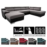 Cavadore Wohnlandschaft Xenit mit Longchair links und Ottomane rechts, U-Form Couch mit Kopfteilverstellung und Bettfunktion, 338 x 81-94 x 215, Materialmix grau - schwarz