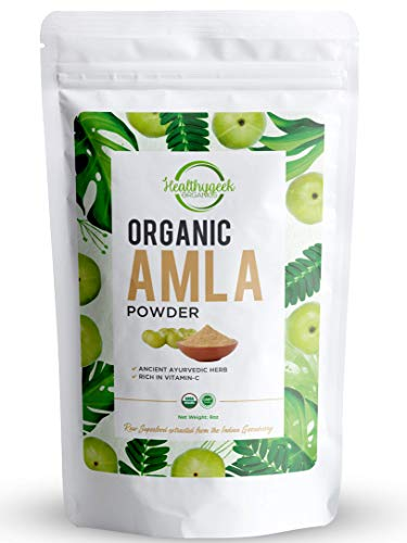 Organic Amla Powder (Amalaki), Ayurvedic Herbal Superfood Rich in Vitamin C and Antioxidants, Raw & Natural, Lab Tested for Purity, Sold in a resealable Bag (8 oz.)