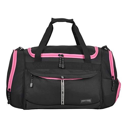 KEANU Sporttasche Adventure Damen Herren ** Viele Fächer z.B. Schuhfach, Seitentaschen, Vordertasche ** 45 Liter Fitness Tasche Sport Sauna Tasche Reisetasche Handgepäck (Black Pink Trims)