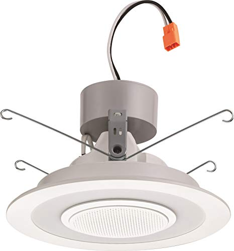 Lithonia Lighting 6SL RD 07LM 3000K 90CRI MW 6-Inch Dimmable LED Module with Integrated Wireless Bluetooth Speaker, 720 Lumens, 120 Volts, 13 Watts, Wet Listed, Matte White