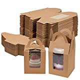 Jucoan 100 Pack Brown Individual Cupcakes Boxes with Window and Handles, Single Kraft Paper Cupcake Containers for Party, Baby Shower