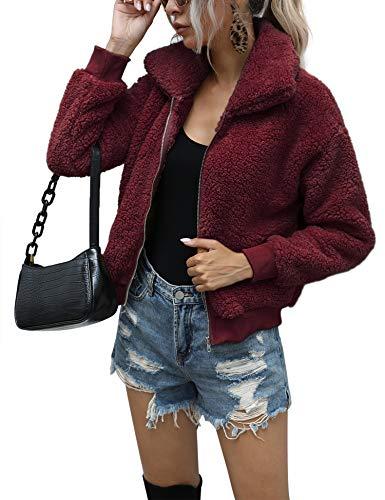Fluffy Coat for Women Fuzzy Fleece Jacket Red Teddy Coat Zip Up Hoodie Wine Red L